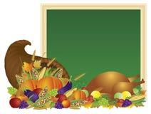 Thanksgiving dayhoorn des overvloeds en het Bordillustratie van Turkije Royalty-vrije Stock Afbeeldingen