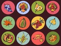 Thanksgiving daypictogrammen in de Schets van de Stijlkleur Stock Fotografie