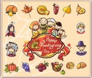 Thanksgiving dayreeks Gekleurde Illustraties Stock Afbeelding