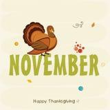 Thanksgiving dayviering met de vogel en de tekst van Turkije stock illustratie
