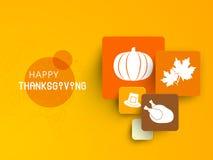 Thanksgiving dayviering met sticker, markering en etiket Stock Afbeelding
