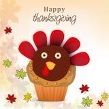 Thanksgiving dayviering met Turkije cupcake Stock Afbeelding