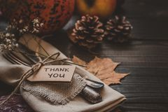 Thanksgiving decoration with cutlery and napkin on the wooden table, close up. Selective focus Royalty Free Stock Image