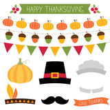 Thanksgiving decoration and design elements set Royalty Free Stock Photos