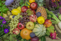 Thanksgiving decoration with fruits and flowers Stock Image