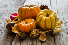 Thanksgiving decorations on rustic background. Thanksgiving decorations - pumpkins nuts oat pine cone apple candle, rustic wood background Royalty Free Stock Photo