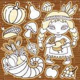 Thanksgiving design elements stock illustration
