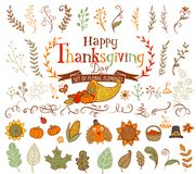 Thanksgiving design elements. For poster or greeting card with holiday traditional symbols Royalty Free Stock Image