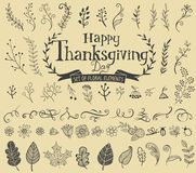 Thanksgiving design elements. For poster or greeting card with holiday traditional symbols Royalty Free Stock Photos