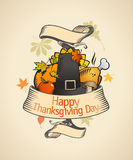 Thanksgiving design in retro style. Royalty Free Stock Photos