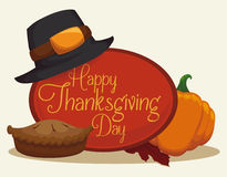 Thanksgiving Dessert Scene with Pie and Pumpkin, Vector Illustration Stock Photography