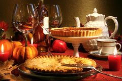Thanksgiving desserts. On a festive table Stock Images