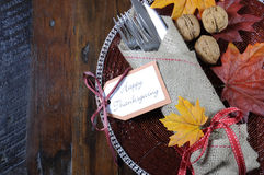 Thanksgiving dining table place setting in traditional rustic country style with copy space. Happy Thanksgiving dining table place setting in traditional rustic Stock Image