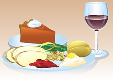 Thanksgiving dinner. Illustration of a thanksgiving dinner with wine and pumpkin pie Stock Image