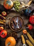Thanksgiving dinner setting. Autumn dinner table Royalty Free Stock Photos