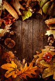 Thanksgiving dinner. Autumn fruit on wood with copyspace. Thanksgiving autumn background Royalty Free Stock Images