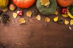 Thanksgiving dinner. Autumn fruits, vegetable with plate and cutlery. Thanksgiving autumn background. Flat lay, top view. Thanksgiving dinner. Autumn fruits stock photos