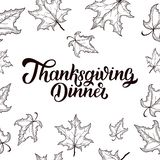 Thanksgiving Dinner brush hand lettering, isolated on white background. Calligraphy illustration. royalty free stock images