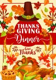Thanksgiving dinner invitation with festive food. Thanksgiving dinner invitation card with autumn holiday festive food. Roasted turkey, pumpkin and apple pie vector illustration