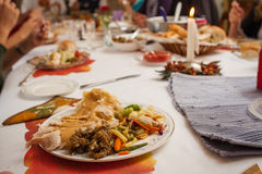 Thanksgiving Dinner Plate Stock Photography