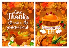 Thanksgiving dinner poster set with turkey and pie Royalty Free Stock Photography