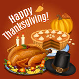 Thanksgiving dinner, roast turkey on platter with garnish Stock Images