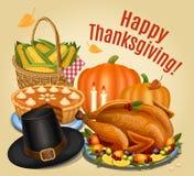 Thanksgiving dinner, roast turkey on platter with garnish Royalty Free Stock Photos