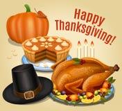 Thanksgiving dinner, roast turkey on platter with garnish Stock Photography