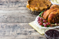 Thanksgiving dinner on rustic wooden background. Turkey thanksgiving dinner on rustic wooden background stock photos