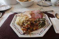 Thanksgiving dinner served. Picture of a thanksgiving dinner served in plate ready to eat Stock Image