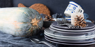 Thanksgiving dinner still life with pumpkin. Banner Royalty Free Stock Photography