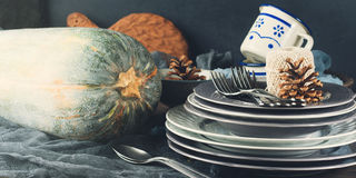 Thanksgiving dinner still life with pumpkin. Toned banner Stock Images