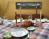 Thanksgiving dinner table set for dinner Stock Photos