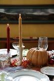 Thanksgiving dinner table set for dinner Stock Photos