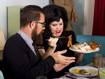 Thanksgiving Dinner Turkey Couple Stock Photo