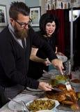 Thanksgiving Dinner Turkey Couple Royalty Free Stock Image