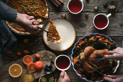 Thanksgiving dinner on the wooden table top view Stock Photo