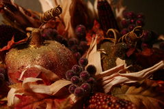 Thanksgiving display. Close-up of a thanksgiving basket in our home Stock Photography