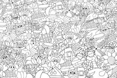 Thanksgiving doodle background. Black and white coloring page game. Stock Image