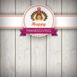 Thanksgiving Emblem Banner Turkey Wood Royalty Free Stock Photography