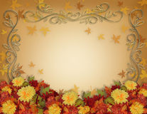 Thanksgiving Fall Leaves and Flowers border design vector illustration