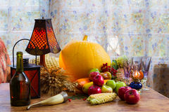 Thanksgiving - a family holiday, still life with vegetables and. Fruits of autumn, vintage. Sunny and comfortable photo at home, thank God stock photography