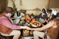 Thanksgiving family and indian Royalty Free Stock Images