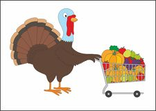 Thanksgiving fat turkey with shopping cart Stock Images