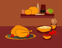 Thanksgiving Feast. Is original artwork.  The vector file is in AI-EPS8 format Royalty Free Stock Image