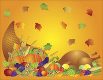 Thanksgiving Feast Cornucopia Turkey Background Stock Photo