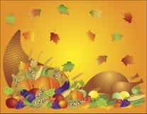 Thanksgiving Feast Cornucopia Turkey Background. Thanksgiving Day Fall Harvest Cornucopia with Turkey Dinner Feast Pumpkins Fruits and Vegetables illustration Stock Photo