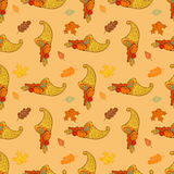 Thanksgiving festive seamless background. With holiday traditional symbols Stock Image