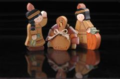 Thanksgiving figurines. Great for holiday ads or newsletters Stock Photo