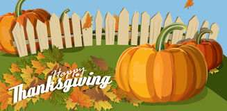 Thanksgiving. Flat design style. Happy Thanksgiving Day. Wooden sign. Autumn Stock Photo